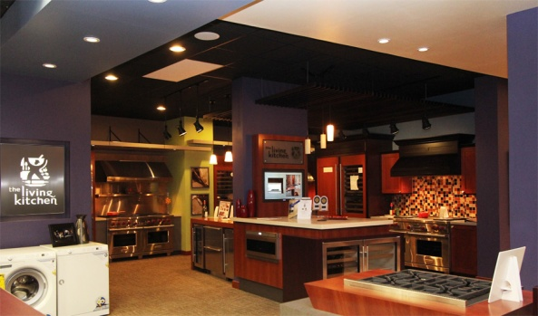 The Sub-Zero and Wolf Living Kitchen displays practically the entire product line from Sub-Zero and Wolf.