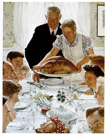 Really Mr. Rockwell?  Grandmom can really be bent over holding a 25 lbs bird?  Can she dead lift 300 lbs too?