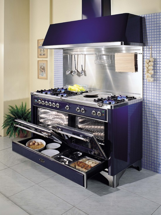 "60"" Ilve Range in Midnight Blue.  Warming drawer?  Check."