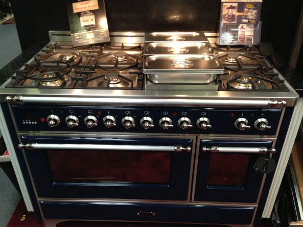 "48"" Ilve Majestic Dual-Fuel Range in Midnight Blue."