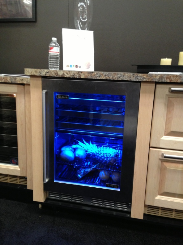 Take a look at this Perlick Beverage Center.  I love the blue light.