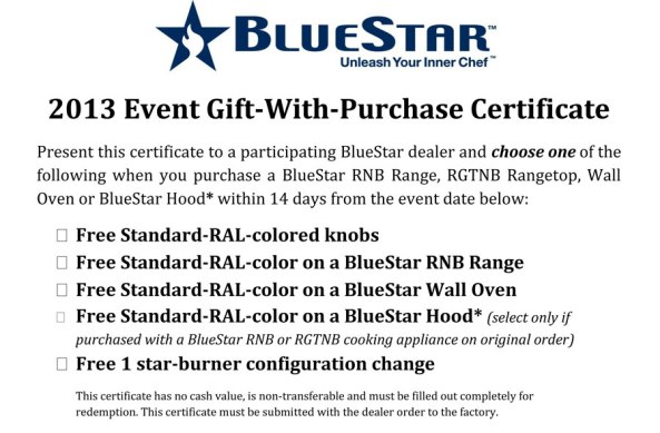 Stop in from 6:00-8:00pm to get a great deal on a BlueStar!